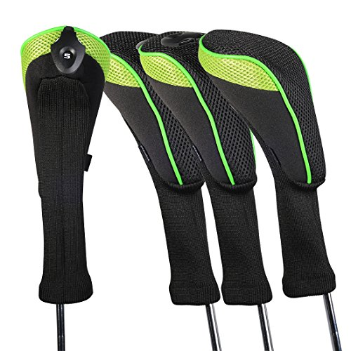 Andux 4 Pack Long Neck Golf Hybrid Club Head Covers Interchangeable No. Tag CTMT-01 (Green) ()
