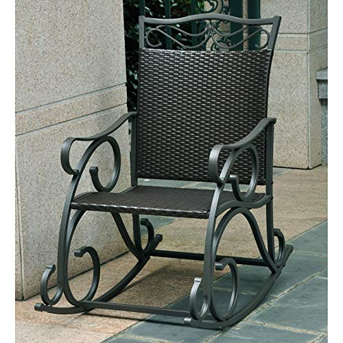 Iron Rocker Wrought Scroll - Stylish Resin Wicker Patio Rocking Chair Crafted with Ornate Wrought Iron Steel Frame, Weatherproof and UV Resistant Finish, Deep Seat, Wide Armrests, Steady Rocking Motion, Black + Expert Home Guide