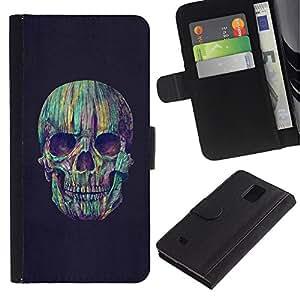 Paccase / Billetera de Cuero Caso del tirón Titular de la tarjeta Carcasa Funda para - Skull Teal Grey Vignette Death Purple - Samsung Galaxy Note 4 SM-N910