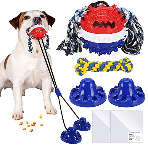 Ezire Dog Chew Toys with Double Suction Cup, Pet Rope Ball Toy for Aggressive Chewers, Interactive Teeth Cleaning Multi…