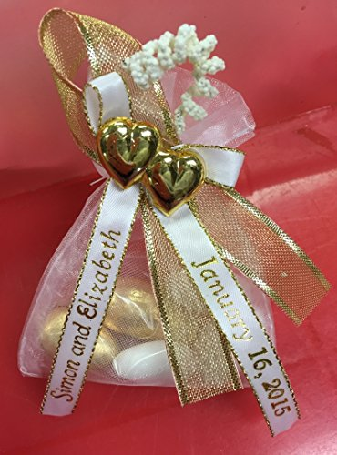 Unique Wedding Favors of Organza Bag with 5 Jordan Almonds, Personalized Ribbons & Double-Heart - set of 10 Favors (Almonds Favor)