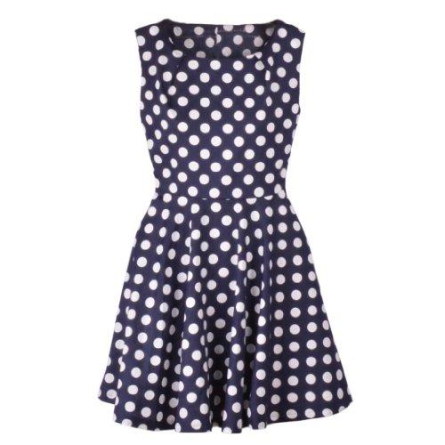 Polka Dots Tunic Dress - Women's Sleeveless Zipper Side Polka Dots Tunic Dress 12P