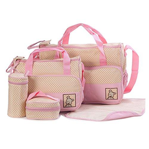 BigForest 5pcs/set Multifunction waterproof Baby Diaper Bag Nappy Changing Pad Travel Mummy Bag Tote Handbag Set Pink