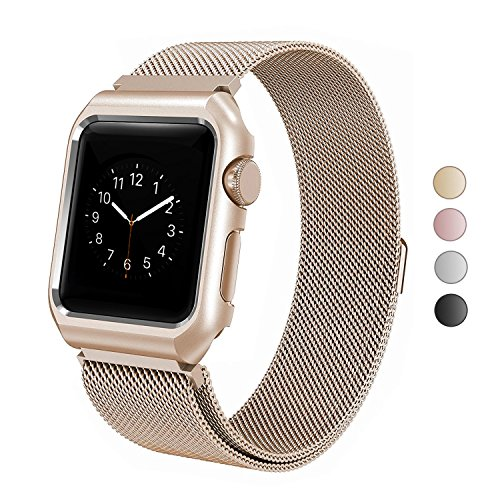 ANIYOH 38mm Apple Watch Band , Stainless Steel Milanese Loop with Metal Protect Case Frame, Adjustable Replacement Strap with Magnetic Closure for iWatch Series 3 2 1 Sport & Edition – Retro Gold
