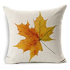 All Smiles Fall Maple Leaves Throw Pillow Case Cushion Cover Yellow Autuman Leaf 18×18 … …