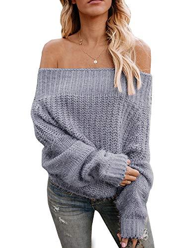 Eurivicy Womens Oversized Sweater Off The Shoulder Batwing Sleeve Pullover Loose Knit Jumpers Grey ()