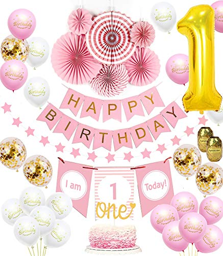 1st Birthday Girl Decorations set | Baby Girl 1st Birthday Pink Princess Theme kit, Happy Birthday Banner, High Chair Banner, Huge 1 Balloon, Pink Tissue Paper Fans, Star Garland Gold, Confetti Balloons, One Cake Topper ( 38 PCS )