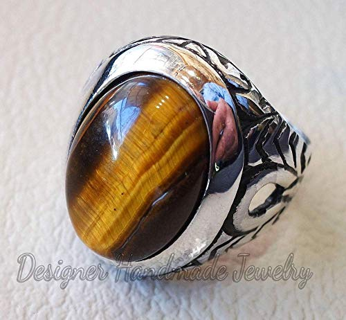 Heavy men ring, natural tiger eye gemstone ring, semi-precious oval stone ottoman antique arabic style two tone sterling silver 925, mens gemstone ring, men's ring, vintage ring