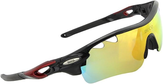 Duco Gafas de Bicicleta polarizadas Ciclismo Gafas de Deporte Gafas de Sol Gafas de protección 0025 (Negro): Amazon.es: Deportes y aire libre
