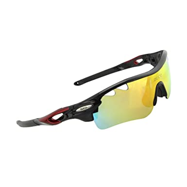 52f3e47793f7 POLARIZED Sports Sunglasses Cycling Glasses With 5 Interchangeable Lenses  Black: Amazon.co.uk: Clothing