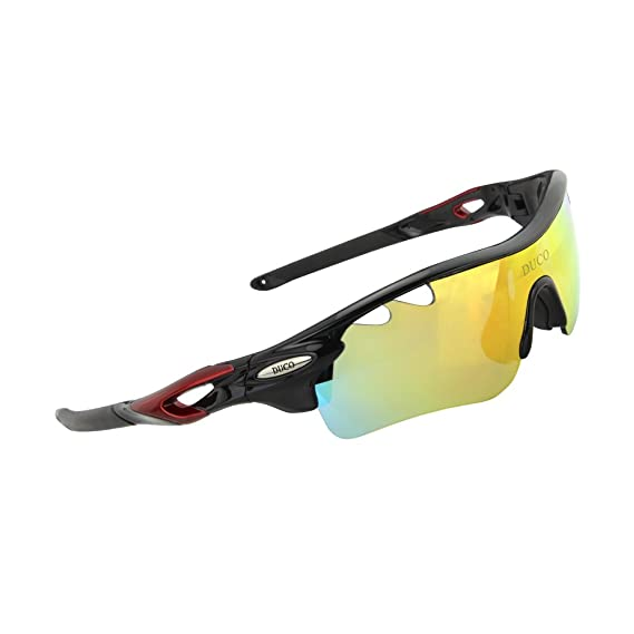 fdd1d3b013e POLARIZED Sports Sunglasses Cycling Glasses With 5 Interchangeable Lenses  Black  Amazon.co.uk  Clothing