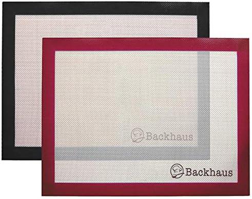 BACKHAUS FlexBake Premium Antihaft Silikon Backmatte [x2] 100% BPA-Frei, Wiederverwendbar Backunterlage   5 Jahre Garantie   40x30cm - Schwarz und Rot