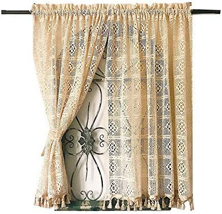 Fringe Cotton Crochet Curtain Valance for Kitchen Bathroom American Rural Retro Hollow Cafe Curtains Door Curtain Rod Pocket Window Treatment Valance for Living Room, 2 Panels W57 x L70 Inch