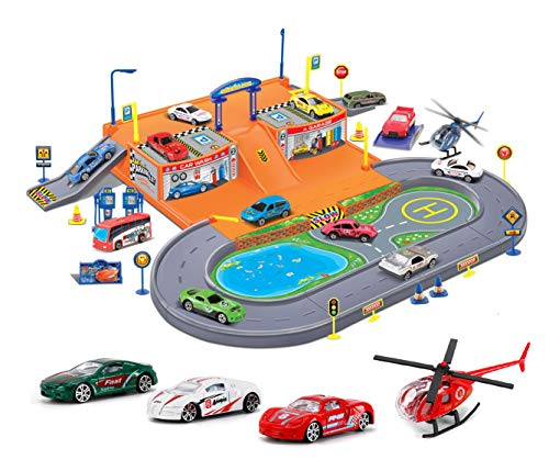 Diecast Import Cars - Liberty Imports Super Parking Garage Diecast Racing Playset - 4 Metal Vehicles