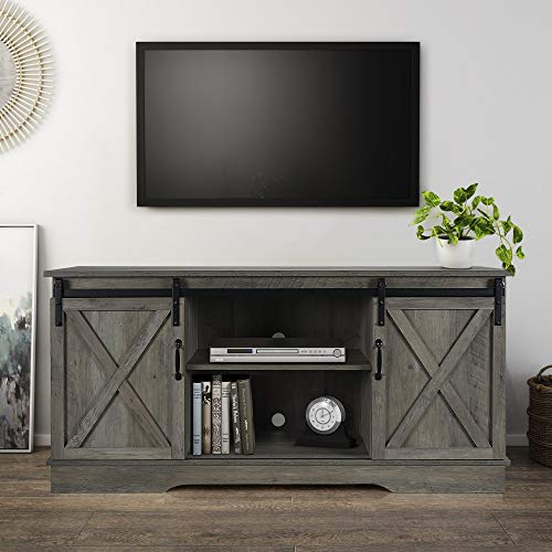 "BELLEZE Modern 58"" Sliding Barn Door Television Stand Media Console, Gray Wash"