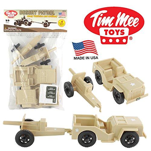 (TimMee Combat Patrol Willys & Artillery - Tan 4pc Playset USA Made)