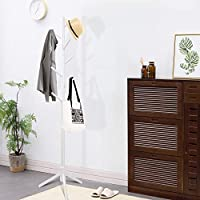 Clewiltess Wooden Tree Coat Rack Stand, 8 Hooks Super Easy Assembly, Hallway/Entryway Coat Hanger Stand for Clothes, Suits, Accessories