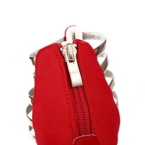 Delle Punta Del Alto Gatuxus Partito Per Donne Piattaforma Il Rosso Aperta Tacco Scarpe Pompa dqEdf