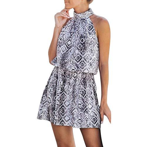 Womens Mini Dress Halter Sleeveless Snake Skin Printed A Line Pleated Flowy Loose Casual Sundress (L, Gray)