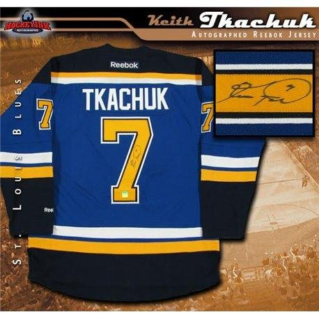 Reebok Blue Autographed Authentic Jersey (Keith Tkachuk Autographed St Louis Blues Blue Reebok Jeresey - Autographed NHL Jerseys)