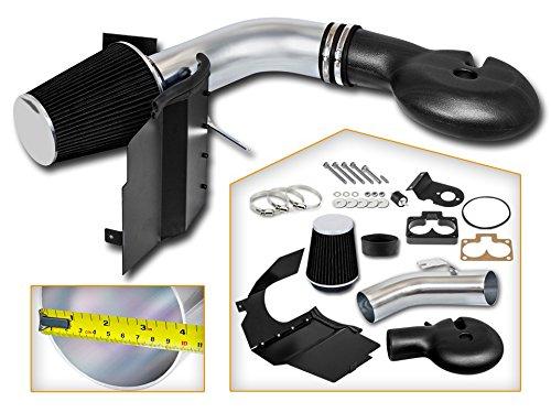 Cold Air Intake System with Heat Shield Kit + Filter Combo BLACK Compatible For 97-98 Dodge Dakota V8 5.2L/5.9L / 98-03 Dodge Durango V8 5.2L/5.9L ()