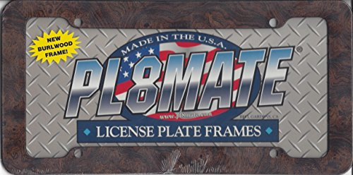 Decor Time Heavy Duty Plastic Burlwood License Plate Frame Free Screw Caps Included ()