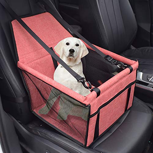 *m·kvfa* Pet Dog Booster Seat Car Seat Clip-On Safety Leash and Zipper Storage Pocket Perfect for Small and Medium Pets up to 20 lbs (Orange) (Best Airline Price Tracker)