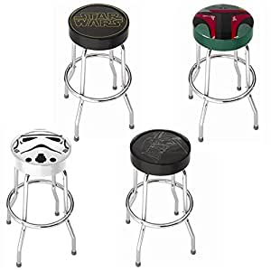 Star Wars Movie Series Trilogy Logo Darth Vader Storm Trooper Boba Fett Garage Game Room Home Bar Kitchen Counter Bar Stool with Foot Rest - 4PC Collectors Set