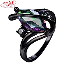 Cherryn Jewelry New Fashion Colorful Cubic Zirconia Ring Aneis Wedding Band T Black Gold Filled Rainbow Ring RB0580