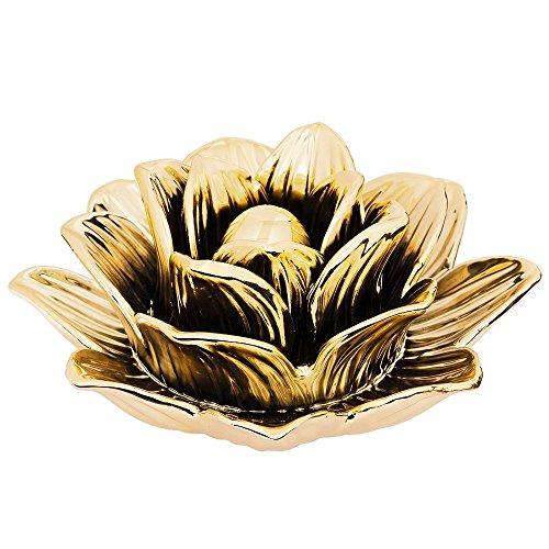 Flor Dourada Em Ceramica, Moas, Dourada