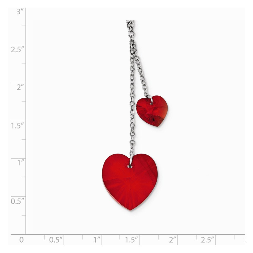 Sterling Silver Crystal Elements Heart Necklace 2 Inch Ext 19x19mm 16 Inches
