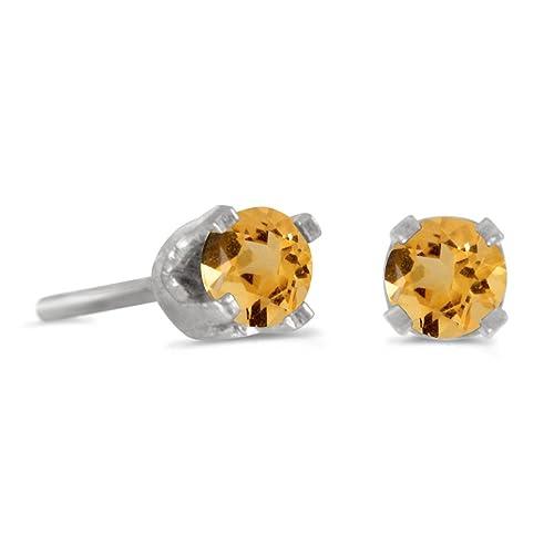 3 mm Petite Round Genuine Citrine Stud Earrings in 14k White Gold