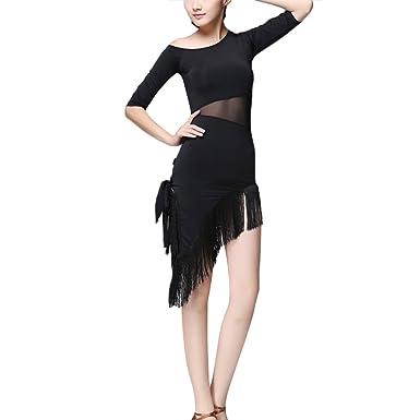 OULII Vestido de Baile Latino para Mujer Vestido de Borla ...
