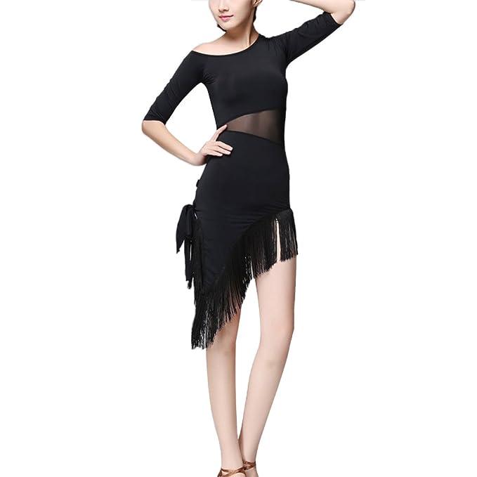 OULII Vestido de Baile Latino para Mujer Vestido de Borla Cha Cha Tango Traje de Concurso