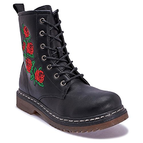 Lace Black Truffle Military Ankle Ladies Long Rose Boots Winter Embroidery Women's Mizzshuzz Up qEAnw6R8x