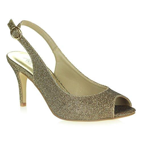 Fête Sandales Taille Peeptoe Bal AARZ Dames Talon Bronze Soir Chaussures Briller LONDON mariée Haut Femmes De Mariage Décontractée de xw01qgR