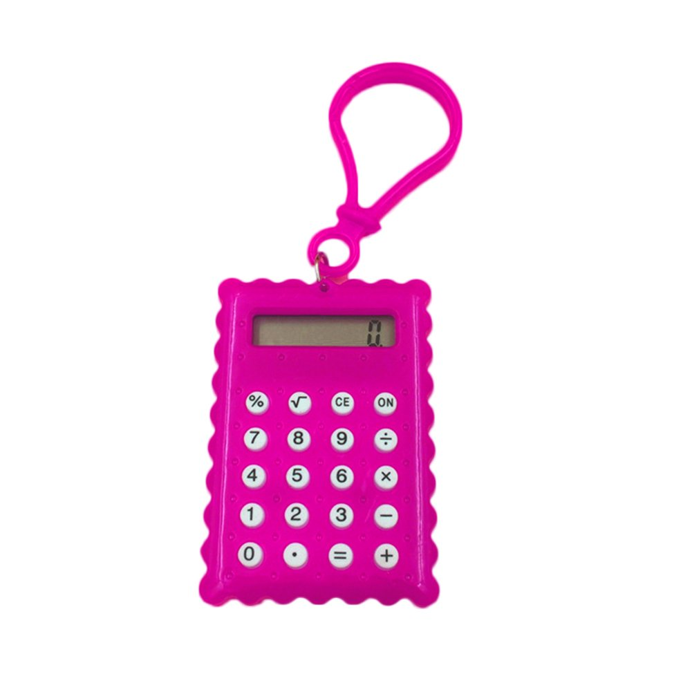 Colorido Creative Pocket Carry Mini Calculator,Biscuit Shape 8 Digits Portable Calculator for Student School Supplier Pink