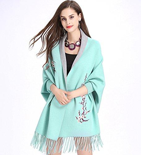 Cárdigan Para WanYang Punto Bordados Abrigo Chal De De Gris Pañuelos Azul Mujer Mujeres Claro Creativo Suéter Del qB4pBPRx