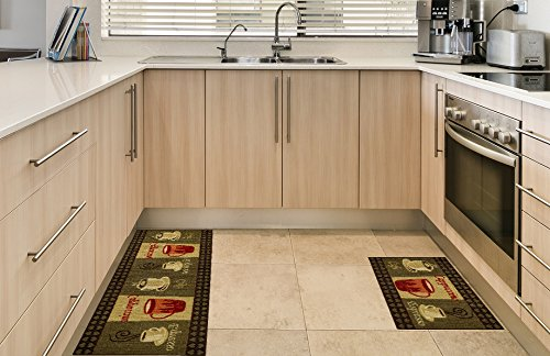Amazon.com: Anti Bacterial Rubber Back Home And KITCHEN RUGS Non Skid/Slip  2x5 | Coffee Themed | Decorative Kitchen Rug Runner Door Mats Low Profile  Modern ...