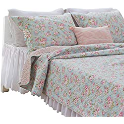 Brandream Romantic Rose Floral Bedding Set Girls Summer Quilt Set Full Size