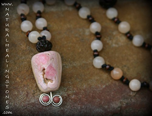 Hill Tribe Silver Rose Pendant - 108 bead mala necklace made up of Rhodochrosite, quartz, rose wood and Rudraksh beads. Hill Tribe silver & genuine stones or crystals.ONE OF A KIND JEWELRY FOR THE MEDITATIVE SPIRIT