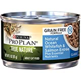Purina Pro Plan Wet Cat Food, True Nature, Grain Free, Natural Ocean Whitefish & Salmon Entrée, 3-Ounce Can, Pack of 24