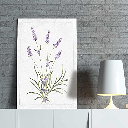 Lavender Print - wall26 - Canvas Wall Art - Hand Drawn Purple Lavender Minimal Flower Series Artwork - Giclee Print Gallery Wrap Modern Home Decor Ready to Hang - 12x18 inches