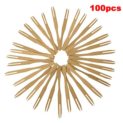 Bamboo Fruit Picks Disposable Mini Bamboo Forks 100 PCS 3.5 Inch Bamboo Forks for Fruit Cocktail Pastry Dessert Home Party Banquet Buffet Tools Supplies ()