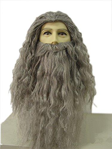 Gandalf Beard And Wig Set (Halloween Costumes Mens Wizard Wig and Beard Set Gray)