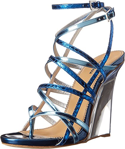 Dsquared2 Sandalia Metálica Con Cuña Para Mujer, Azul Metalizado