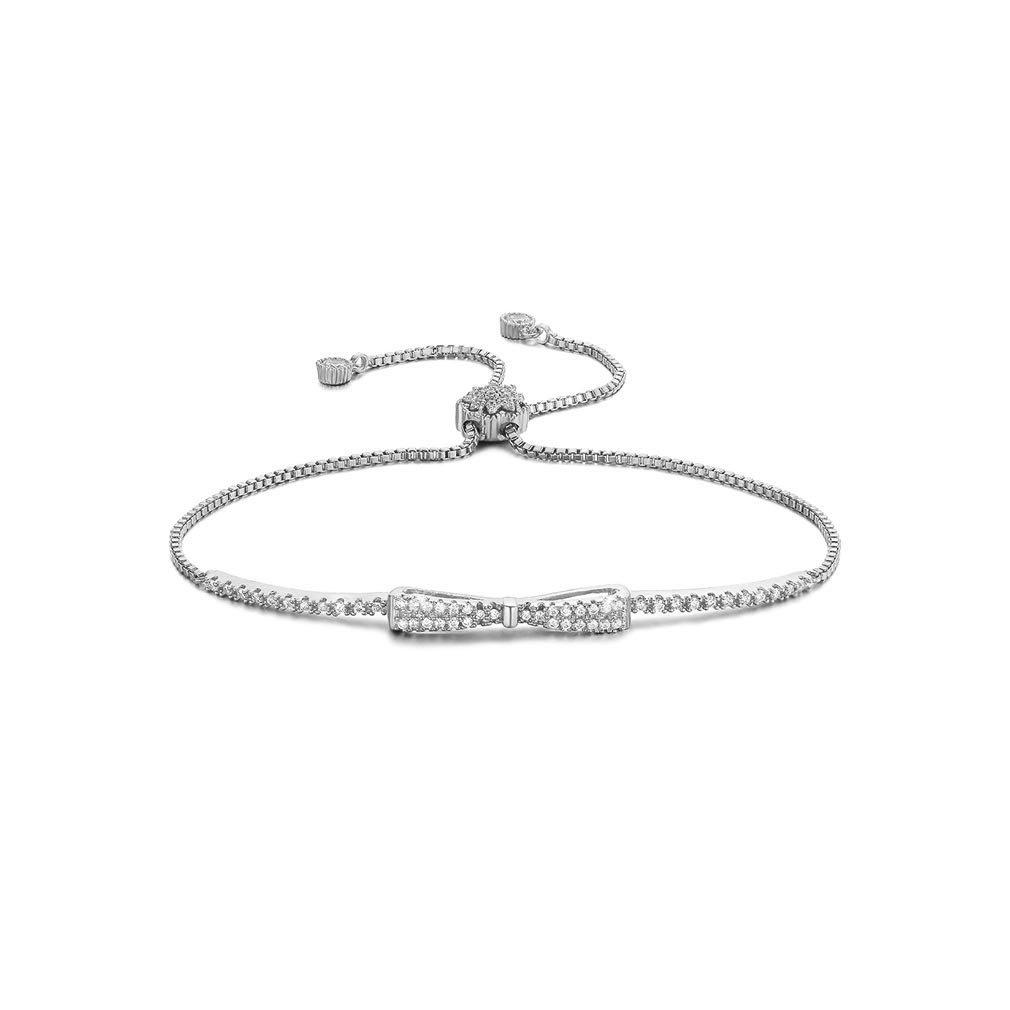 SHINCO Bella Lotus Cute Bowknot 18k White Gold Plated Chain CZ Diamond Charm Bracelets Women Girls Jewelry, Gifts for Graduation
