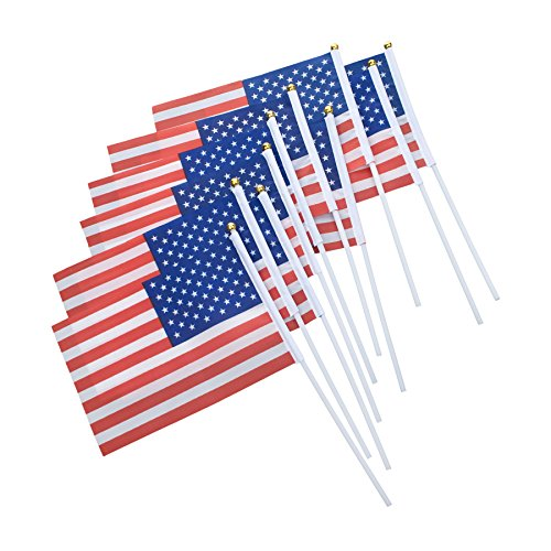 Aspire 10PCS/Pack 8.2X5.5 Inches Hand Held Flags American Decoration for Parades & Holidays with Plastic Stick Round Top-USA Flag
