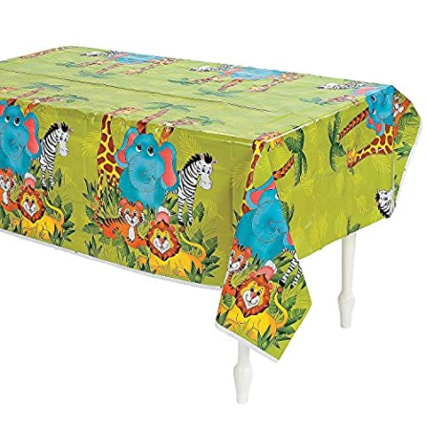 Fun Express Zoo Animal Party Plastic Tablecloth - 108 x 54 inches - Fun Party Animals