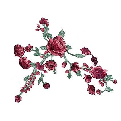 eDealMax Apliques Verde Rojo Poliéster Inicio Diseño de la Flor DIY de Coser ropa decoración de